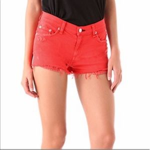 RAG & BONE | Red/Orange Distressed Jean Shorts 28